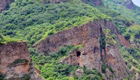 geghard: cliffs and mountains in Armenia, next to Geghard monastery and Azat river.