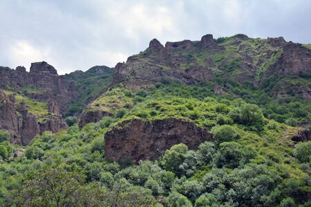 geghard: mountains and cliffs surrounding Azat river and Geghard monastery, in Armenia