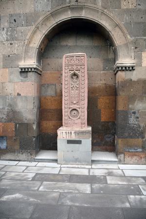 apostolic: Carved stone khachkar in Armenia, Echmiadzin