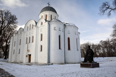 st. Boris and Gleb cathedral and a monument to Chernihiv prince, in winter Stock Photo