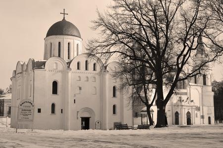 boris: Boris and Gleb cathedral, saint-transfiguration cathedral, Chernihiv, Ukraine (in sepia)