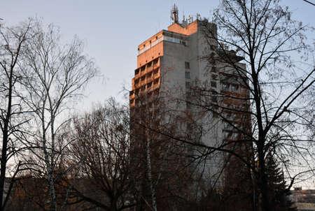 exterior of Gradetskii hotel in Chernihiv, Ukraine Editorial