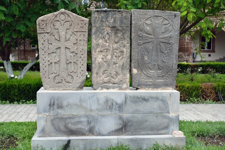 apostolic: Three khackkar stones on a pedestal in Echmiadzin, Yerevan