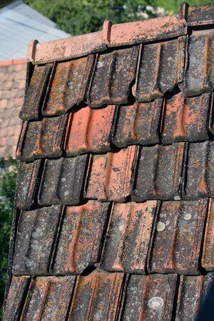 Old rooftop with wornout rectangular tiles, Armenia
