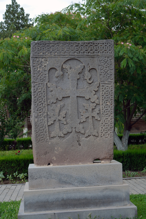 apostolic: Old grey khachkar with several crosses, Yerevan, echmiadzin