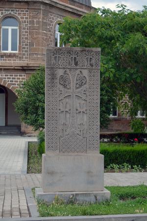carved: Grey carved old khachkar in Echmiadzin, Yerevan Stock Photo