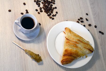 filling: coffee with traditional samsa with meat filling