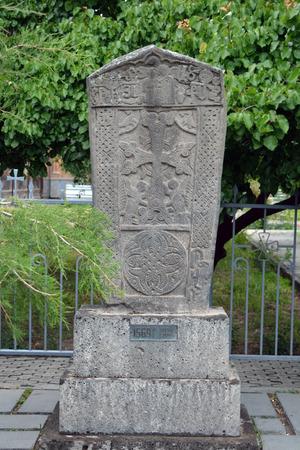 apostolic: Old carved khachkar, 16 century, Echmiadzin Stock Photo