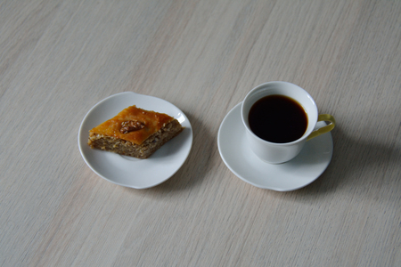 baklawa: black coffee and baklava on the table