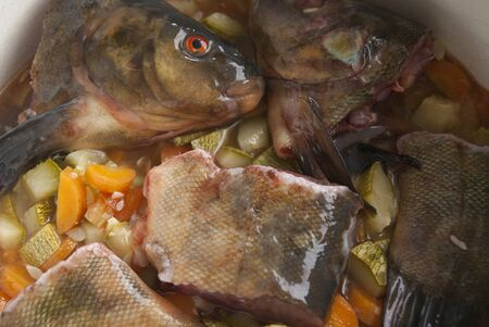 tench: Pieces of raw tench in a pan with vegetables