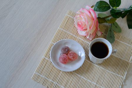 marmelade: marmelade sweets with coffee on the table Stock Photo