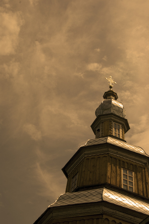 vorohta: Detail of Nikolskaya church in Novgorod-Siverskiy, brown toned