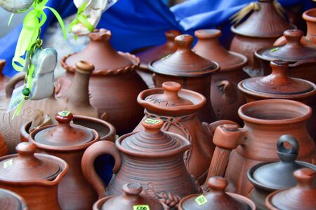earthenware: Pottery pots on the market for sale Stock Photo