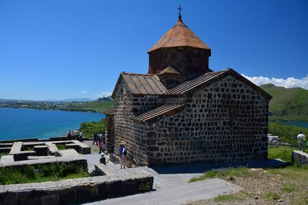 Sevanavank monastery with the tourists, Armenia