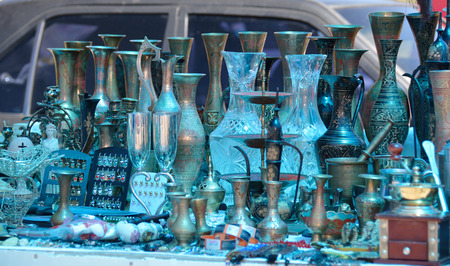 Metal and glass souvenirs for sale Stock Photo