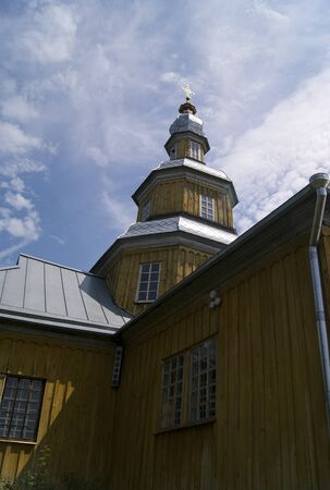 Closeup of wooden church in Novgorod-Siverskiy, Ukraine