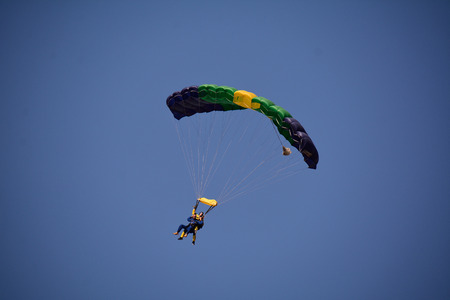 parachutists: Parachutists in one parachute high in the air