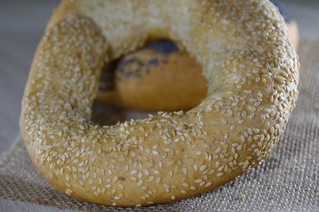 baranka: Poppy seed and sesame cracknel on the cloth
