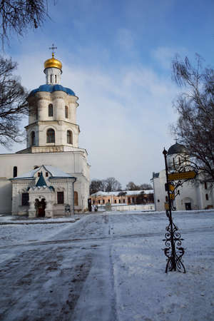 collegium: Alley in the park with Collegium and Boris-Gleb cathedral, in Chernihiv