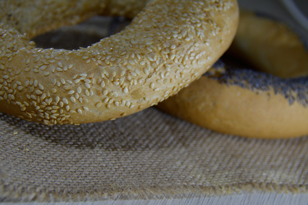 baranka: detail of the cracknels with sesame and poppy seed on the cloth Stock Photo