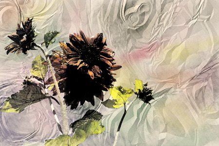 ruffle: ruffle paper background with a brown sunflower, watercolor imitation