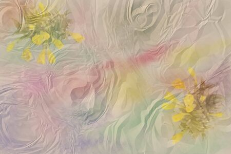 ruffle: ruffle background with watercolor stains anf flowers