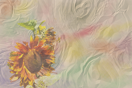 ruffle: Brown watercolor ruffled paper with a brown sunflower Stock Photo