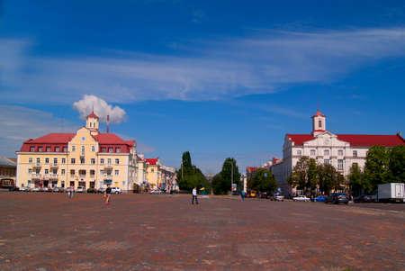 red centre: CHERNIHIV, UKRAINE - JUNE 30, 2015: Red Square in the centre of Chernihiv, with people Editorial