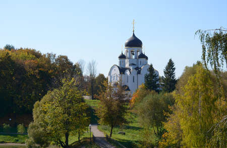landscape architecture: Landscape with the river and a church in Voskresenskoye, Russia, in autumn