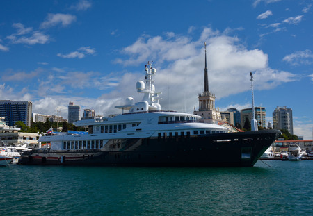 SOCHIRUSSIAN FEDERATION - SEPTEMBER 29 2014: a steam ship in the sea port Editorial