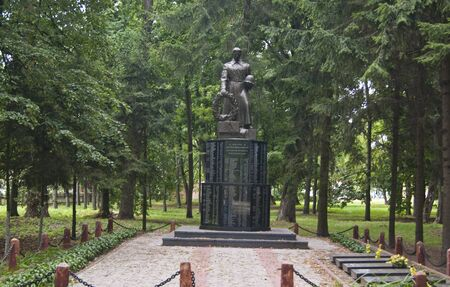 forcing: LIUBECHUKRAINE - JULY 31 2015: monument in Liubech, Chernihiv region, to the soldiers who died in 1943 forcing the Dnipro river