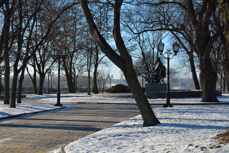CHERNIHIVUKRAINE - JANUARY 08 2015: alley in the Val park, with the monument to Shevchenko Editorial