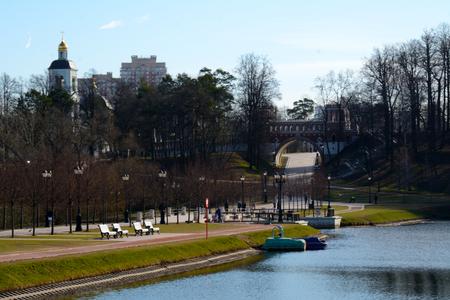 tsaritsino: MOSCOWRUSSIAN FEDERATION - APRIL 13 - 2015: visitors  in Tsaritsino park Editorial