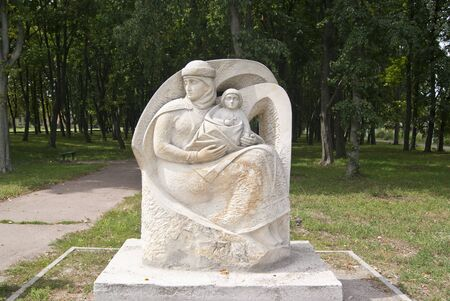 LIUBECHUKRAINE - JULY 31 2015: monument to Malusha, mother of Vladimir, with a child Editorial
