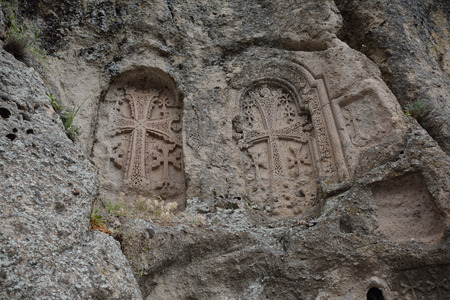 geghard: carving on the wall next to the geghard monastery, in Armenia Stock Photo