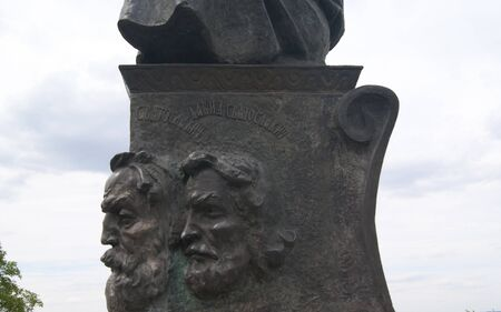 rus: LIUBECHUKRAINE - JULY 31 2015: detail of the monument, dedicated to the meeting and the union of the princes in 1097, side view