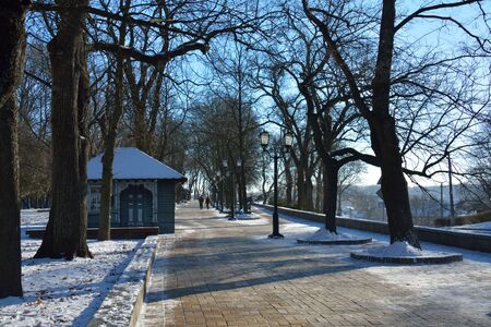 CHERNIHIVUKRAINE - JANUARY 08 2015: alley in the Val park, with the cafe