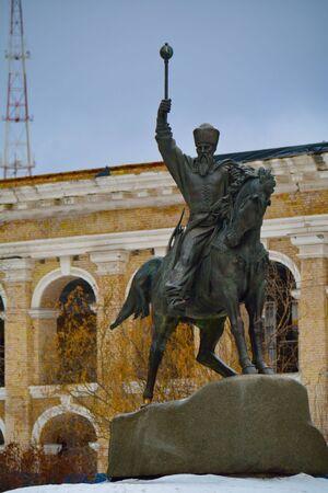 KYIVUKRAINE - JANUARY 10 2015: monument to Sahaidachnyi hetman on the stone Stock Photo