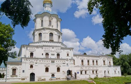 collegium: CHERNIHIVUKRAINE - JULY 02 2015: part of the facade of Chernihiv collegium, with tourists