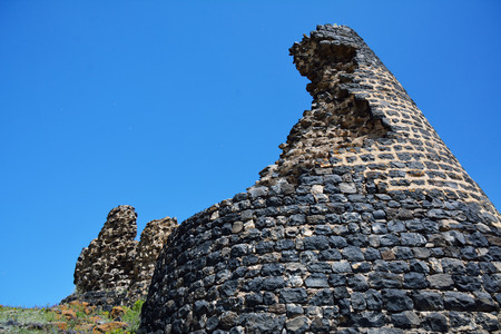 ruined wall of the fortress, on the shore of Sevan, in Armenia