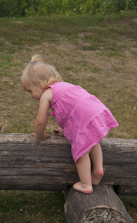 girl in the pink dress on the big log
