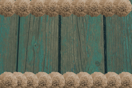 blue wooden background with many pompoms Stock Photo