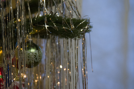 christmas tree with ornaments, closeup