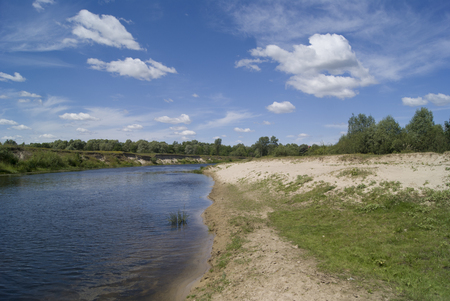 bank of the river in summer, in cluoudy weather