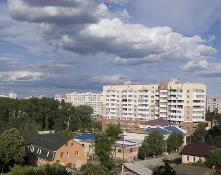 view of the houses nearby the river, in Chernihiv, Ukraine