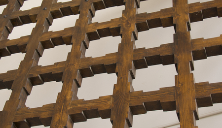 detail of the wooding grates upon the sky, diagonal view
