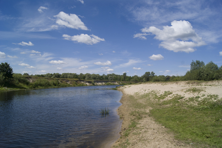 banks of Stryzhen river in Ukraine, in summer Stock Photo