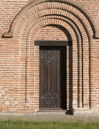 details of Piatnitska church in Chernihiv, Ukraine, with a door