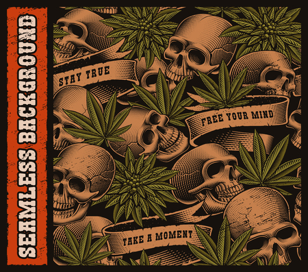 Seamless background of skulls and cannabis leaves in vintage tattoo style. Layered on the dark background.
