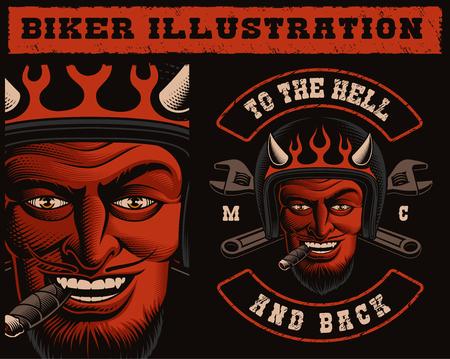 Ilustración vectorial de un motorista diablo en casco con llaves cruzadas. Diseño de parche de moto, también perfecto para estampados de camisetas. Ilustración de vector